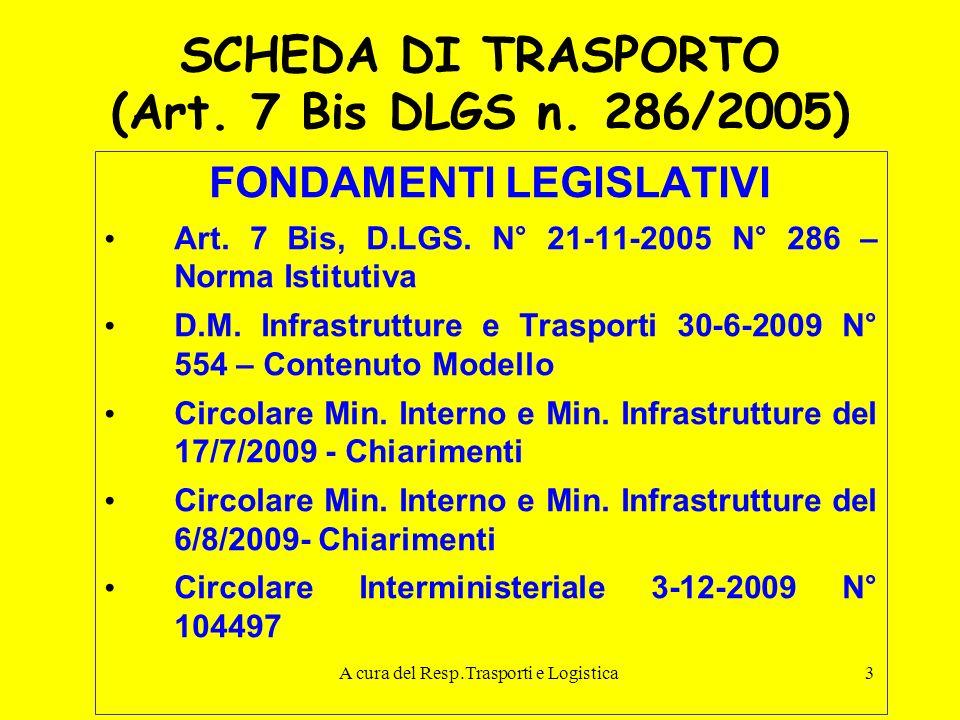 A cura del Resp.Trasporti e Logistica3 SCHEDA DI TRASPORTO (Art. 7 Bis DLGS n. 286/2005) FONDAMENTI LEGISLATIVI Art. 7 Bis, D.LGS. N° 21-11-2005 N° 28