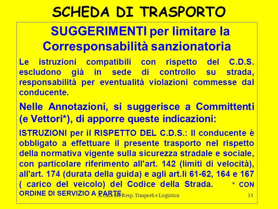 A cura del Resp.Trasporti e Logistica33 SCHEDA DI TRASPORTO SUGGERIMENTI per limitare la Corresponsabilità sanzionatoria Le istruzioni compatibili con