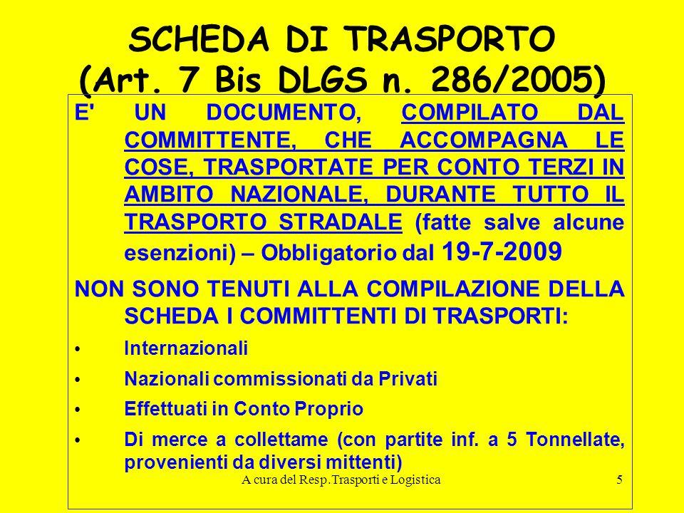 A cura del Resp.Trasporti e Logistica5 SCHEDA DI TRASPORTO (Art. 7 Bis DLGS n. 286/2005) E' UN DOCUMENTO, COMPILATO DAL COMMITTENTE, CHE ACCOMPAGNA LE