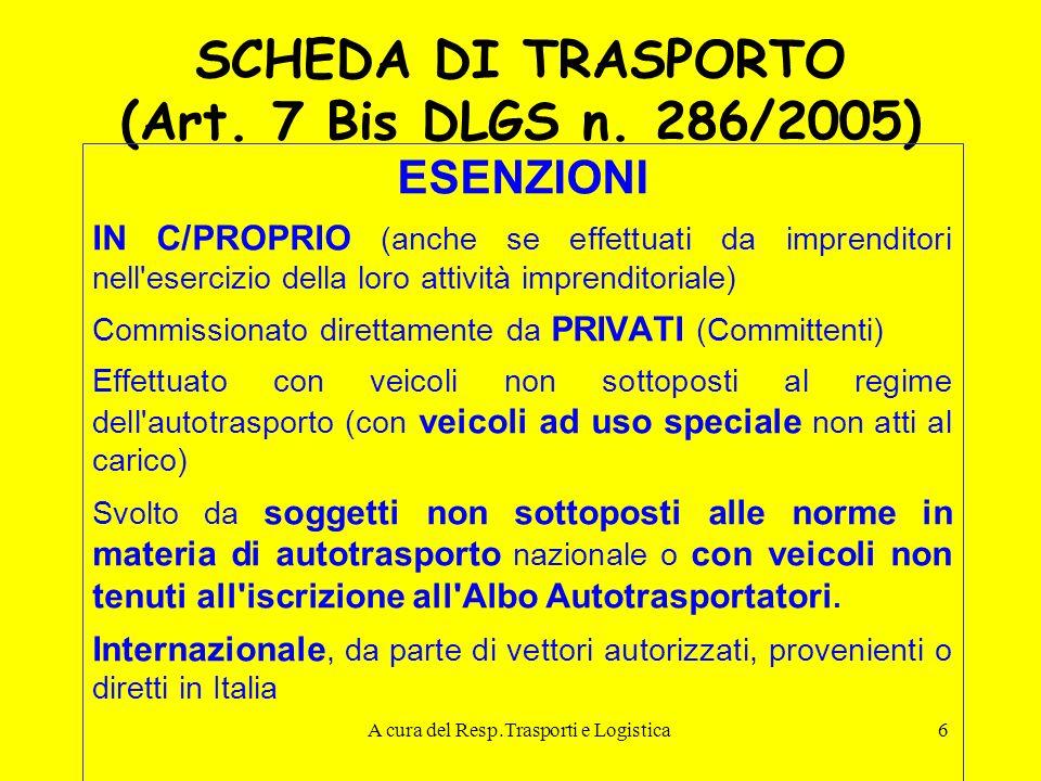 A cura del Resp.Trasporti e Logistica6 SCHEDA DI TRASPORTO (Art. 7 Bis DLGS n. 286/2005) ESENZIONI IN C/PROPRIO (anche se effettuati da imprenditori n