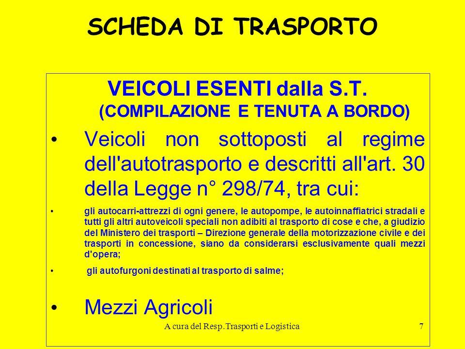 A cura del Resp.Trasporti e Logistica7 SCHEDA DI TRASPORTO VEICOLI ESENTI dalla S.T. (COMPILAZIONE E TENUTA A BORDO) Veicoli non sottoposti al regime