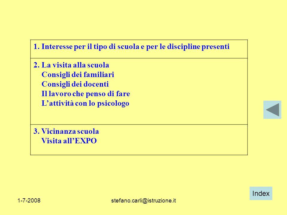 Index 1-7-2008stefano.carli@istruzione.it 1. Interesse per il tipo di scuola e per le discipline presenti 2. La visita alla scuola Consigli dei famili