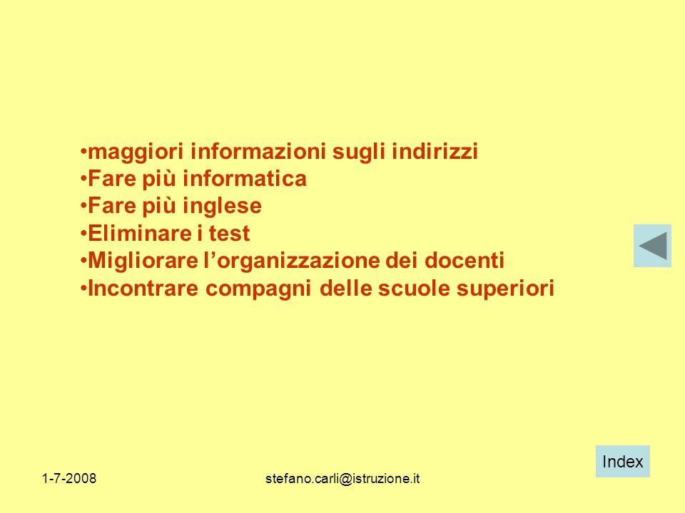 Index 1-7-2008stefano.carli@istruzione.it maggiori informazioni sugli indirizzi Fare più informatica Fare più inglese Eliminare i test Migliorare lorg