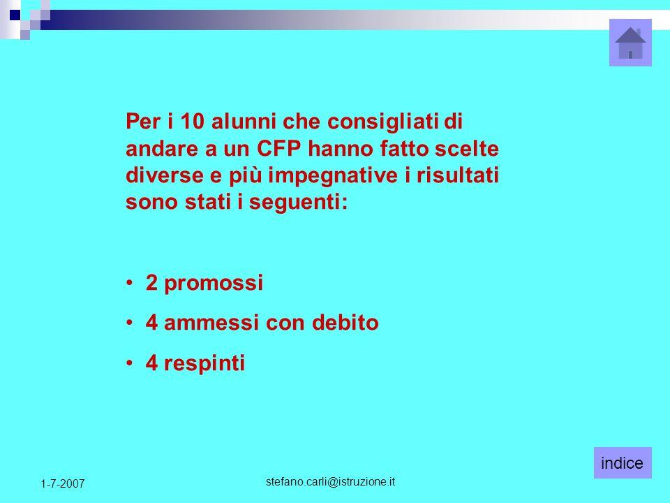 indice stefano.carli@istruzione.it 1-7-2007 Per i 10 alunni che consigliati di andare a un CFP hanno fatto scelte diverse e più impegnative i risultat
