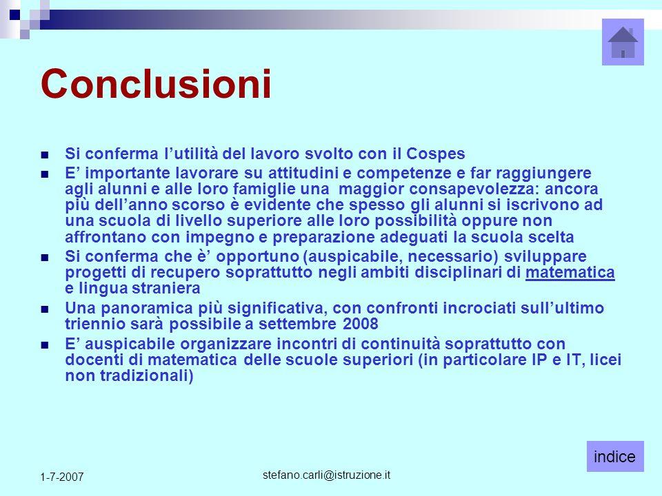 indice stefano.carli@istruzione.it 1-7-2007 Conclusioni Si conferma lutilità del lavoro svolto con il Cospes E importante lavorare su attitudini e com