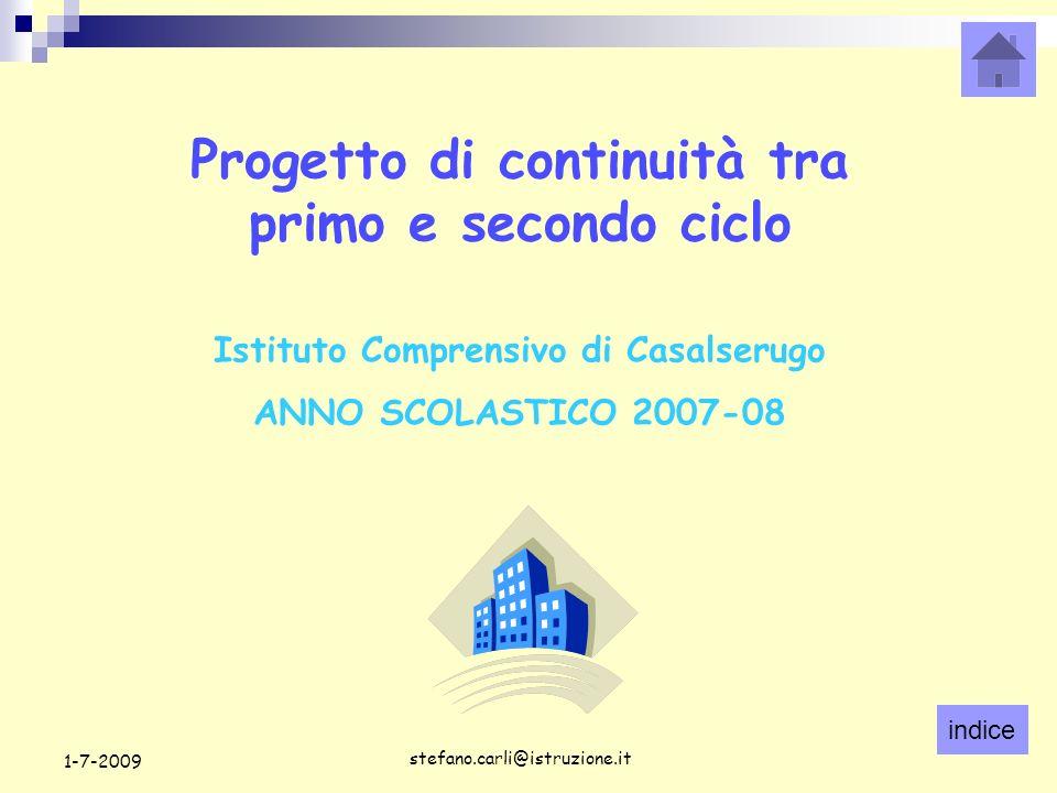 indice stefano.carli@istruzione.it 1-7-2009 Progetto di continuità tra primo e secondo ciclo Istituto Comprensivo di Casalserugo ANNO SCOLASTICO 2007-08