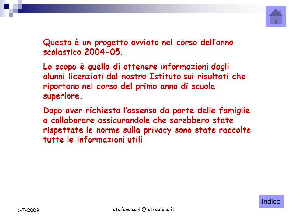 indice stefano.carli@istruzione.it 1-7-2009 Conferma iscrizioni Iscrizione gennaio 2008 Iscrizione settembre 2008 CFP44 IP1312 IT3128 Licei12