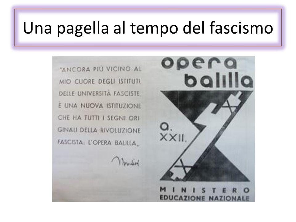 Una pagella al tempo del fascismo