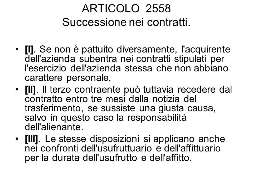 ARTICOLO 2559 Crediti relativi all azienda ceduta.