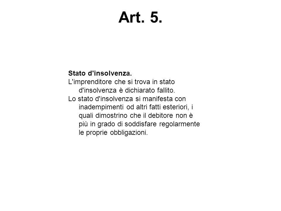 Art. 5. Stato d'insolvenza. L'imprenditore che si trova in stato d'insolvenza è dichiarato fallito. Lo stato d'insolvenza si manifesta con inadempimen