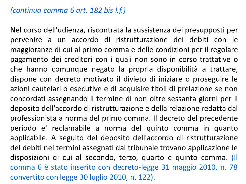 (continua comma 6 art. 182 bis l.f.) Nel corso dell'udienza, riscontrata la sussistenza dei presupposti per pervenire a un accordo di ristrutturazione