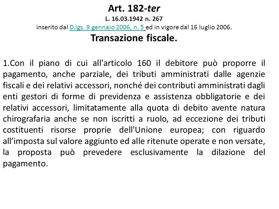 Art. 182-ter L. 16.03.1942 n. 267 inserito dal D.lgs. 9 gennaio 2006, n. 5 ed in vigore dal 16 luglio 2006.D.lgs. 9 gennaio 2006, n. 5 Transazione fis