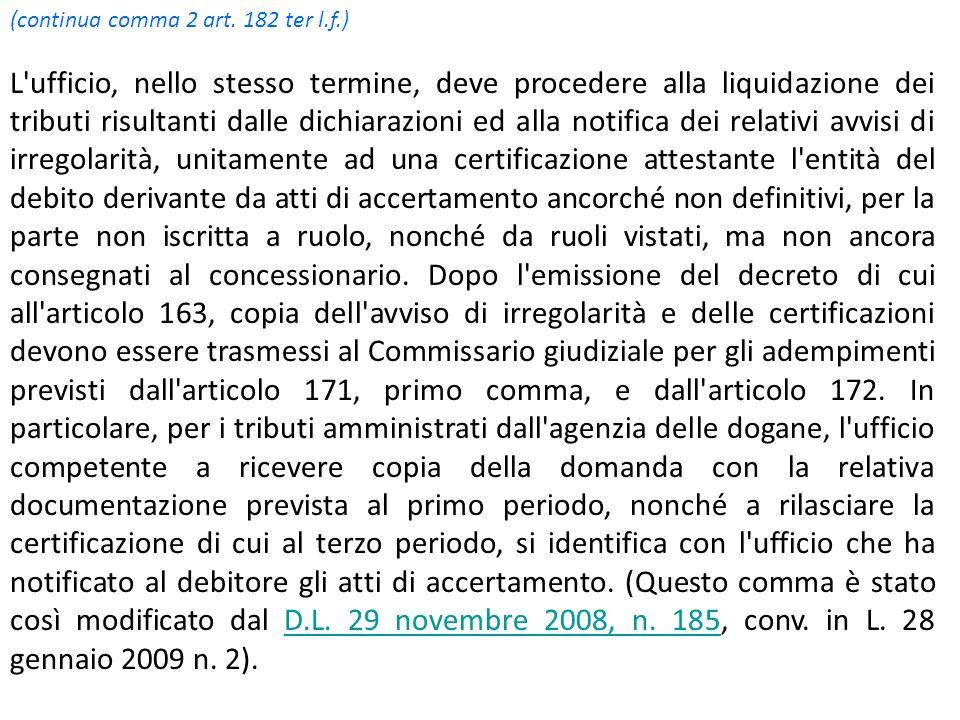 (continua comma 2 art. 182 ter l.f.) L'ufficio, nello stesso termine, deve procedere alla liquidazione dei tributi risultanti dalle dichiarazioni ed a