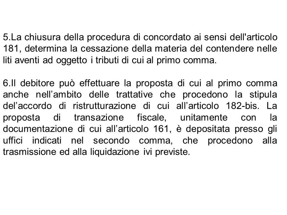 5.La chiusura della procedura di concordato ai sensi dell'articolo 181, determina la cessazione della materia del contendere nelle liti aventi ad ogge