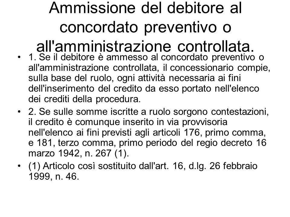 ARTICOLO 90 Ammissione del debitore al concordato preventivo o all'amministrazione controllata. 1. Se il debitore è ammesso al concordato preventivo o