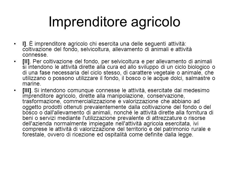Imprenditore agricolo I]. È imprenditore agricolo chi esercita una delle seguenti attività: coltivazione del fondo, selvicoltura, allevamento di anima