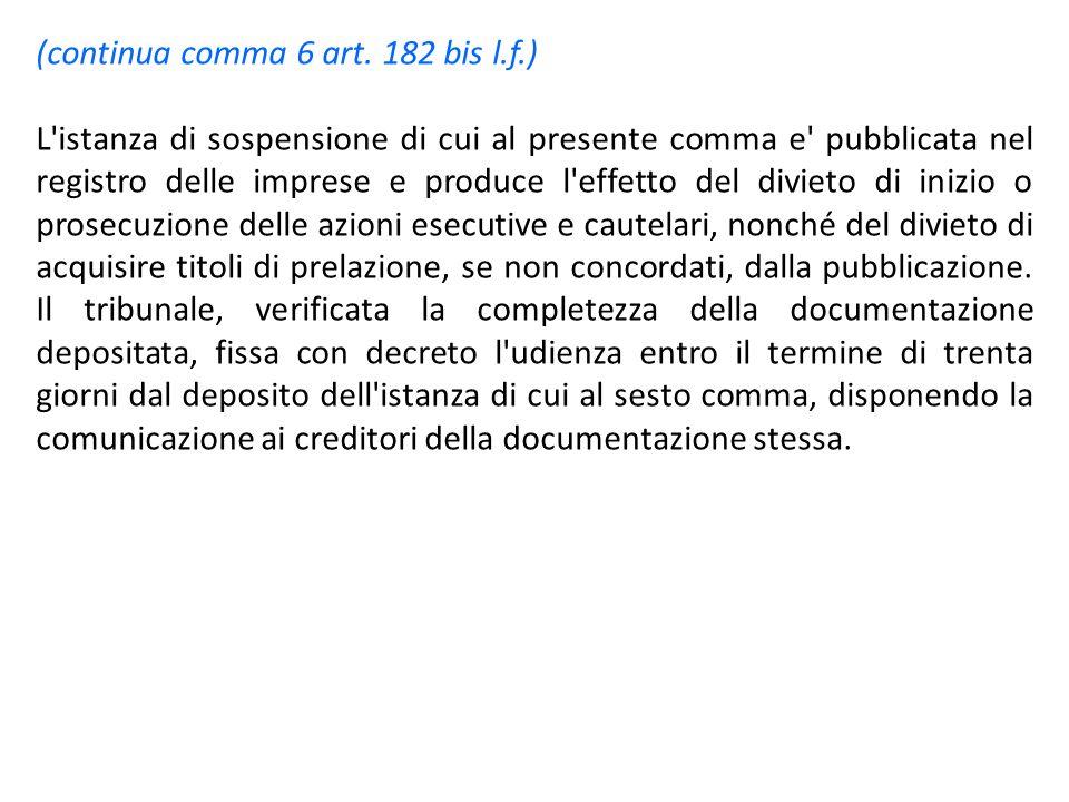 (continua comma 6 art. 182 bis l.f.) L'istanza di sospensione di cui al presente comma e' pubblicata nel registro delle imprese e produce l'effetto de
