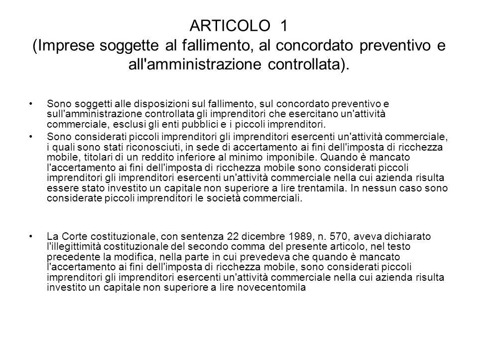 ARTICOLO 1 (Imprese soggette al fallimento, al concordato preventivo e all'amministrazione controllata). Sono soggetti alle disposizioni sul falliment