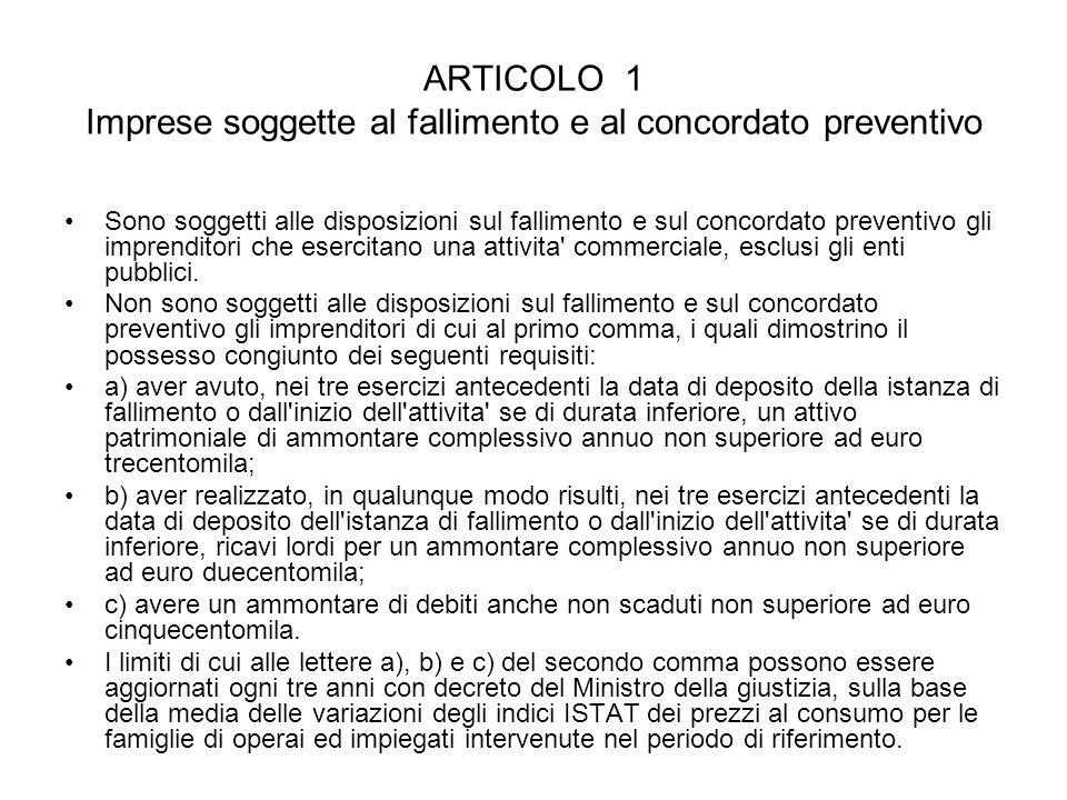 ARTICOLO 1 Imprese soggette al fallimento e al concordato preventivo Sono soggetti alle disposizioni sul fallimento e sul concordato preventivo gli im