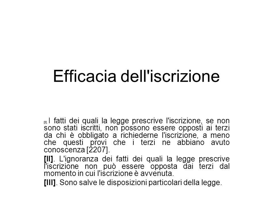Efficacia dell iscrizione [I].
