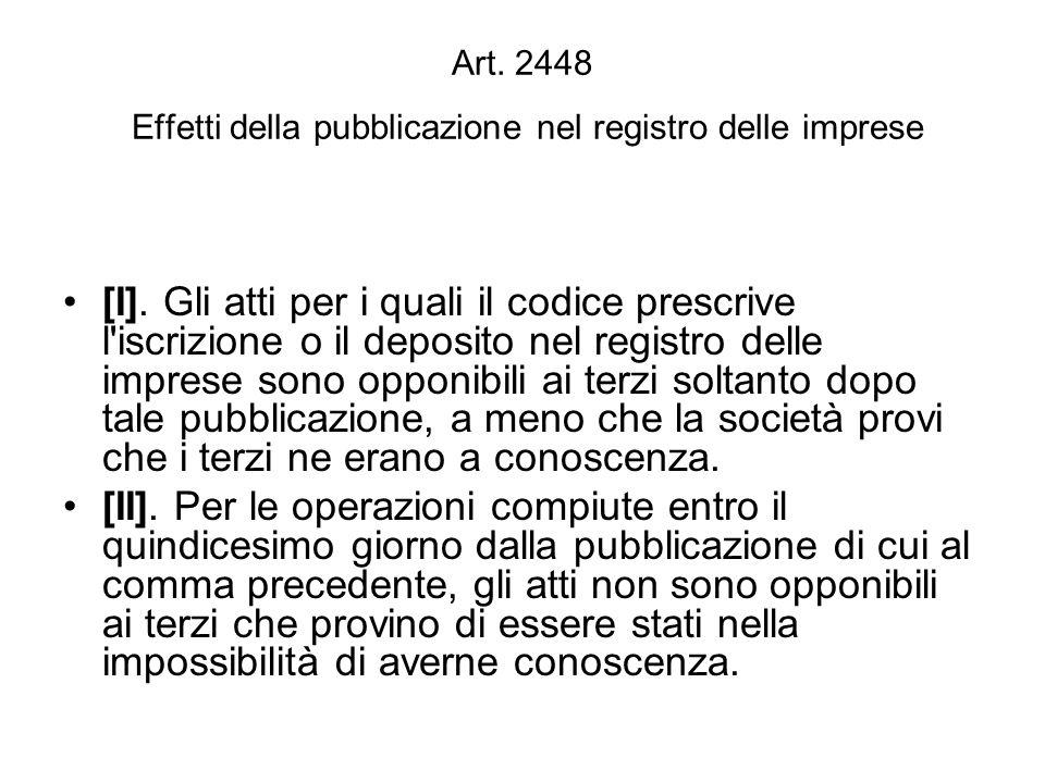 Art. 2448 Effetti della pubblicazione nel registro delle imprese [I].
