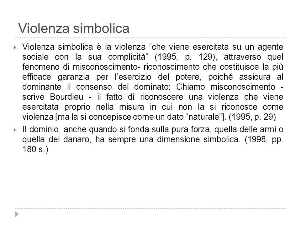 Violenza simbolica Violenza simbolica è la violenza che viene esercitata su un agente sociale con la sua complicità (1995, p. 129), attraverso quel fe