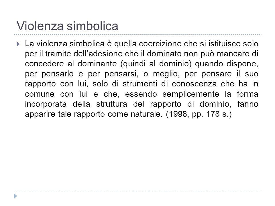 Violenza simbolica La violenza simbolica è quella coercizione che si istituisce solo per il tramite delladesione che il dominato non può mancare di co
