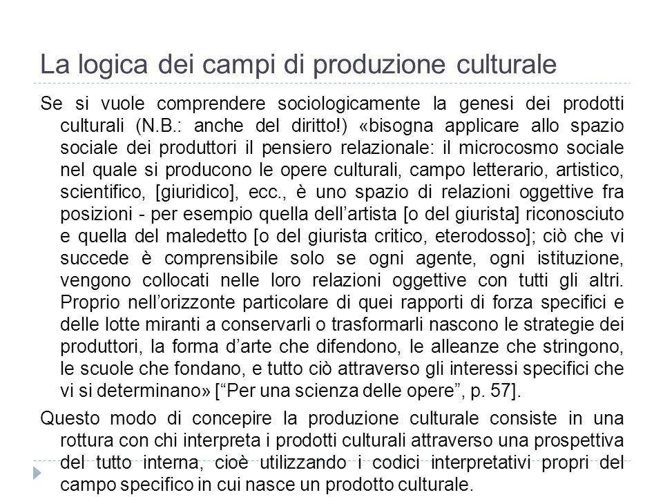 La logica dei campi di produzione culturale Se si vuole comprendere sociologicamente la genesi dei prodotti culturali (N.B.: anche del diritto!) «biso