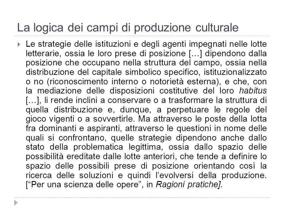 La logica dei campi di produzione culturale Le strategie delle istituzioni e degli agenti impegnati nelle lotte letterarie, ossia le loro prese di pos