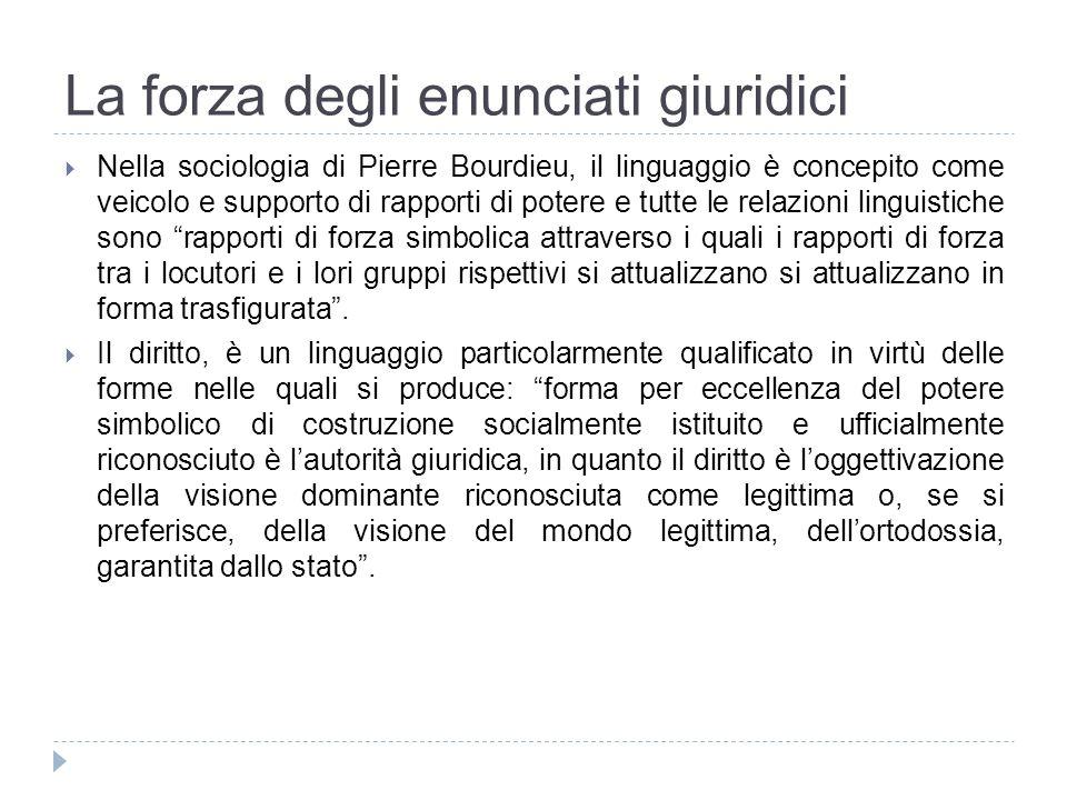 La forza degli enunciati giuridici Nella sociologia di Pierre Bourdieu, il linguaggio è concepito come veicolo e supporto di rapporti di potere e tutt