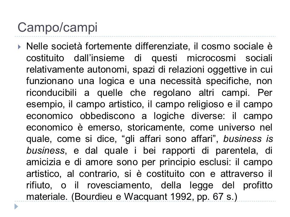 Campo/campi Nelle società fortemente differenziate, il cosmo sociale è costituito dallinsieme di questi microcosmi sociali relativamente autonomi, spa