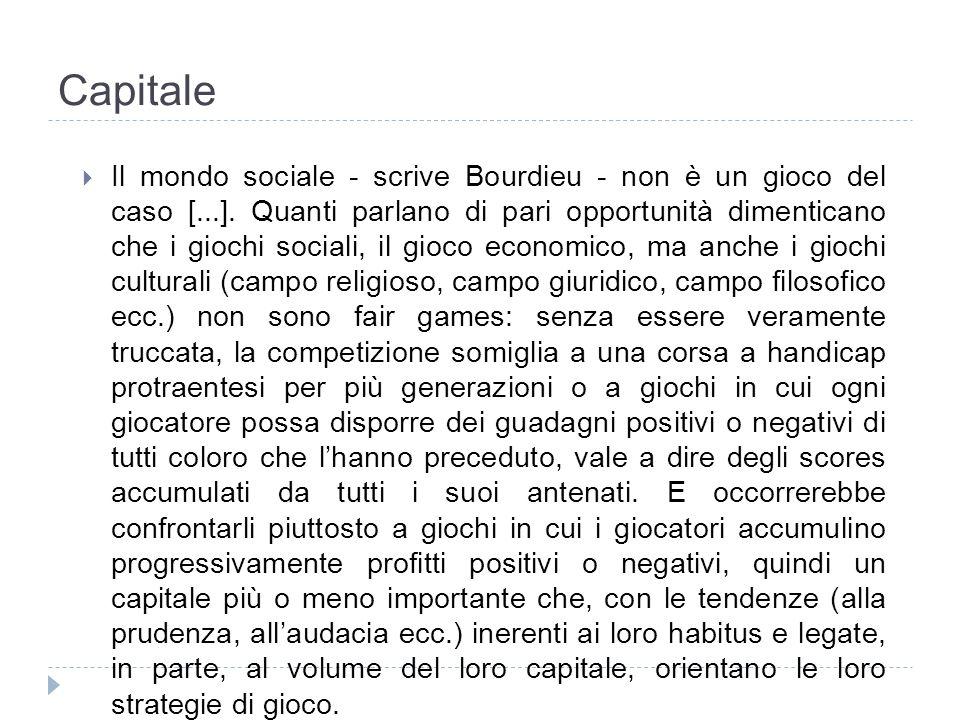 Capitale Il mondo sociale - scrive Bourdieu - non è un gioco del caso [...]. Quanti parlano di pari opportunità dimenticano che i giochi sociali, il g