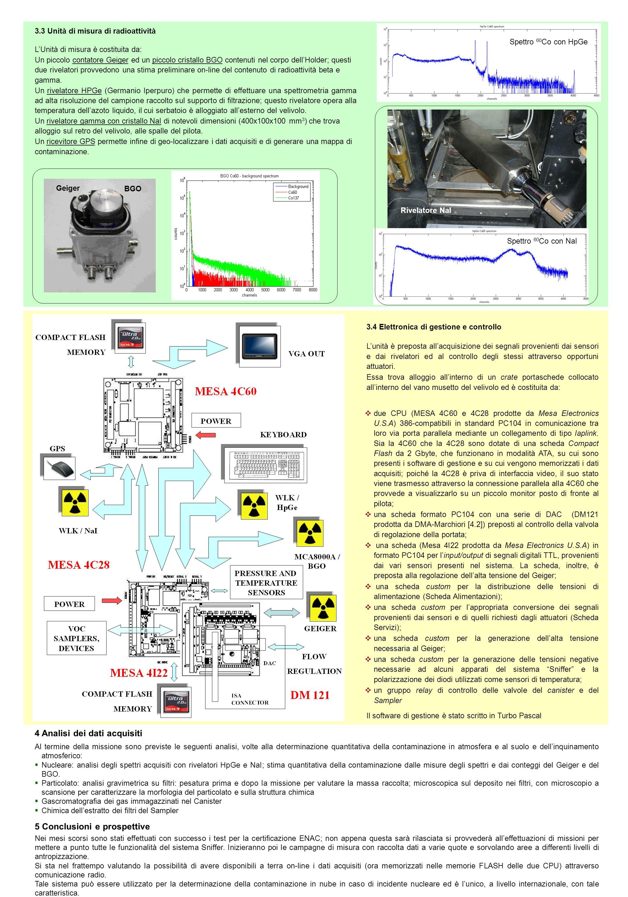 4 Analisi dei dati acquisiti Al termine della missione sono previste le seguenti analisi, volte alla determinazione quantitativa della contaminazione