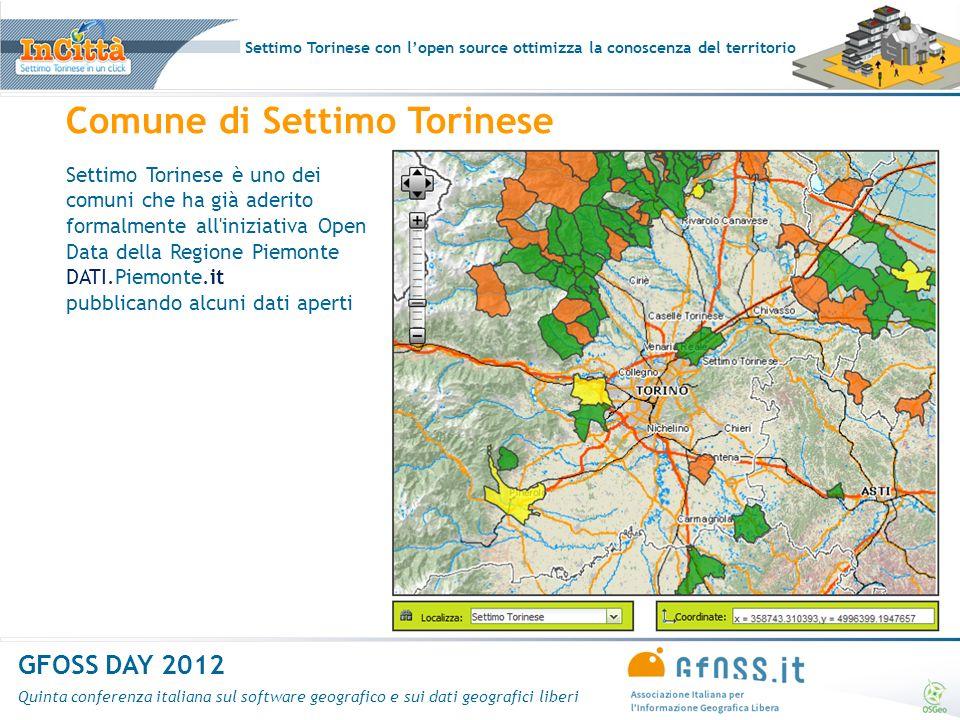 Settimo Torinese con lopen source ottimizza la conoscenza del territorio GFOSS DAY 2012 Quinta conferenza italiana sul software geografico e sui dati geografici liberi Navigazione mappe – ricerca e localizzazione (su WFS)