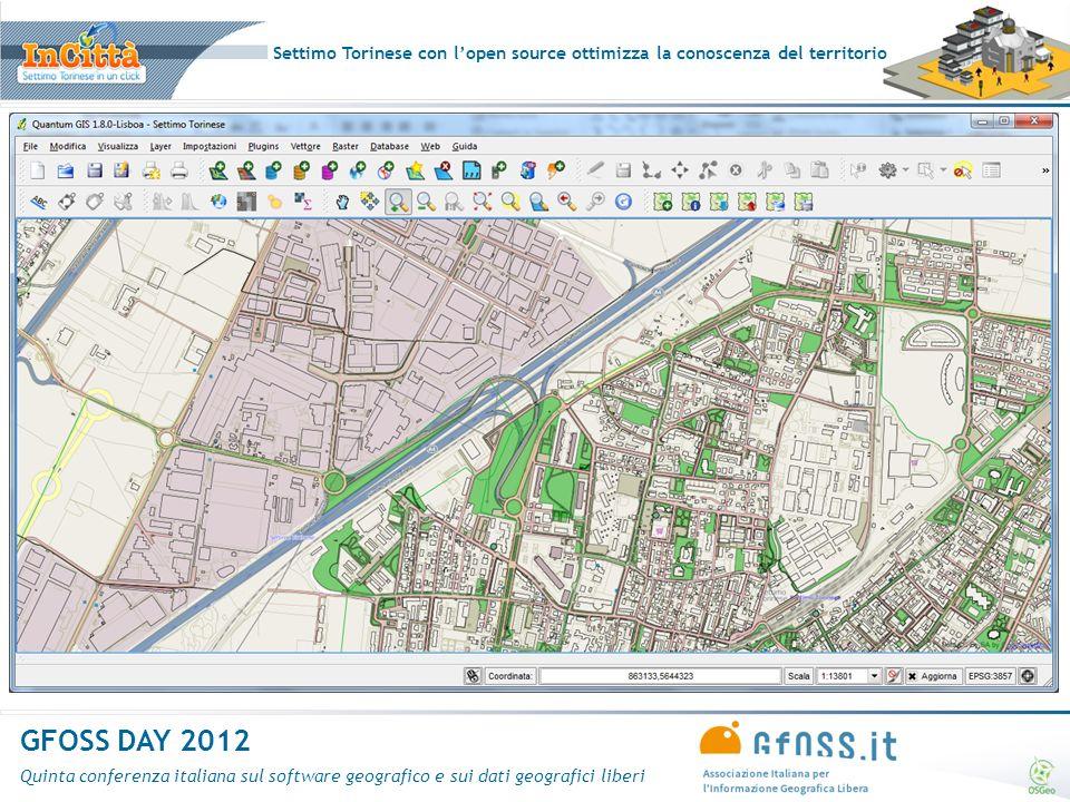 Settimo Torinese con lopen source ottimizza la conoscenza del territorio GFOSS DAY 2012 Quinta conferenza italiana sul software geografico e sui dati geografici liberi Grazie per lattenzione.