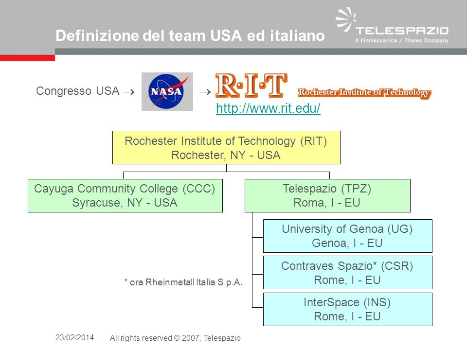 23/02/2014All rights reserved © 2007, Telespazio Definizione del team USA ed italiano Congresso USA http://www.rit.edu/ Rochester Institute of Technol