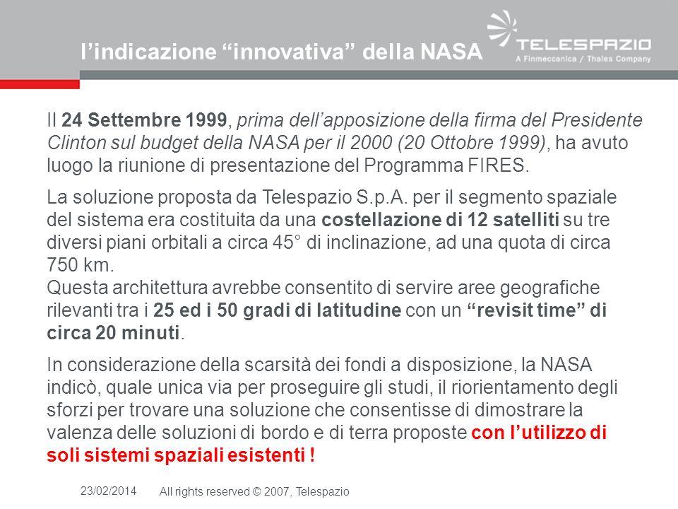 MSG/SEVIRI Ground Resolution 23/02/2014All rights reserved © 2007, Telespazio Global Fire Map / Aug 2001-2002 5 km 4 km 3.1 km