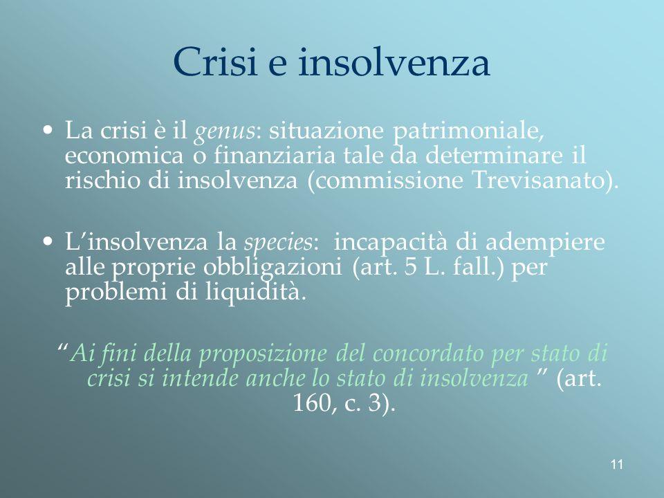 11 Crisi e insolvenza La crisi è il genus: situazione patrimoniale, economica o finanziaria tale da determinare il rischio di insolvenza (commissione Trevisanato).