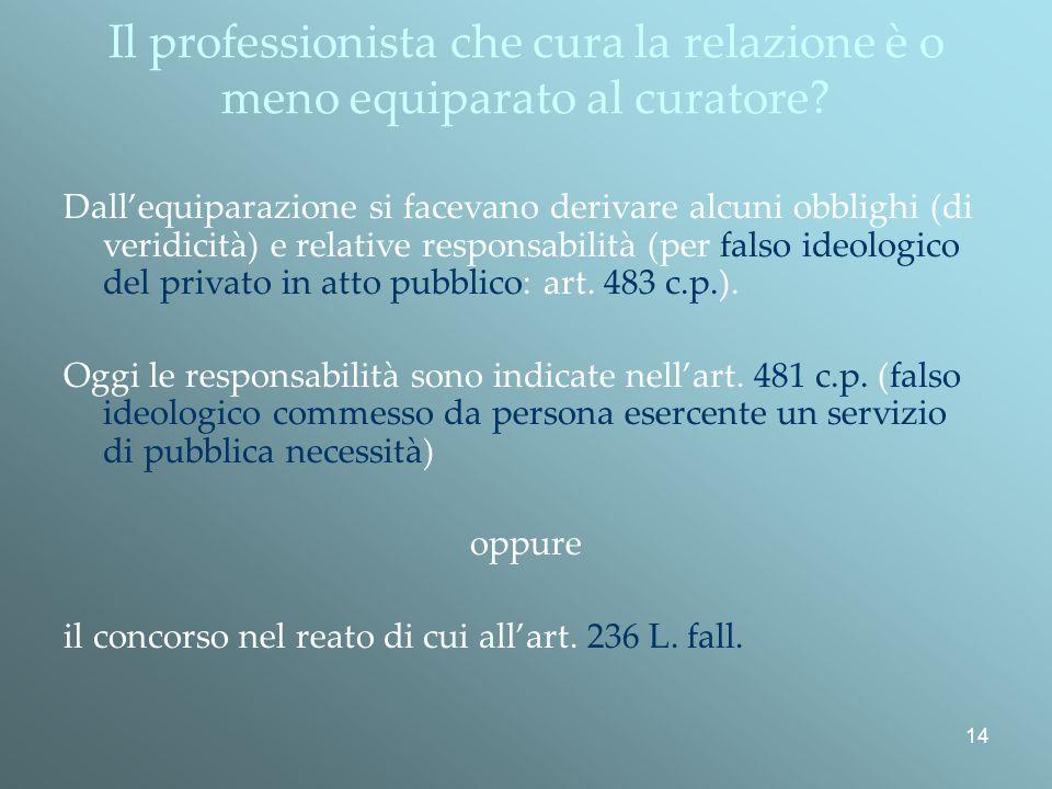 14 Il professionista che cura la relazione è o meno equiparato al curatore.