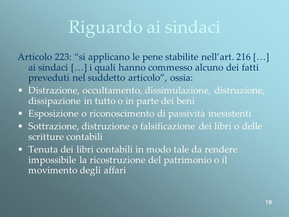 19 Riguardo ai sindaci Articolo 223: si applicano le pene stabilite nellart.