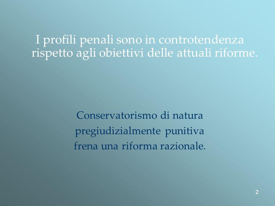 2 I profili penali sono in controtendenza rispetto agli obiettivi delle attuali riforme.