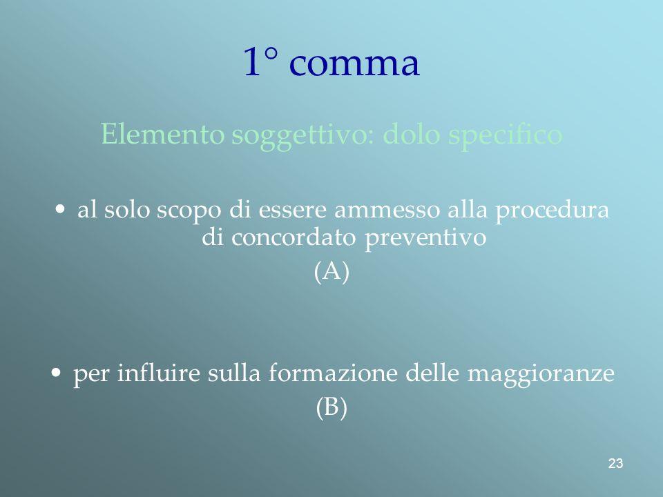 23 1° comma Elemento soggettivo: dolo specifico al solo scopo di essere ammesso alla procedura di concordato preventivo (A) per influire sulla formazione delle maggioranze (B)
