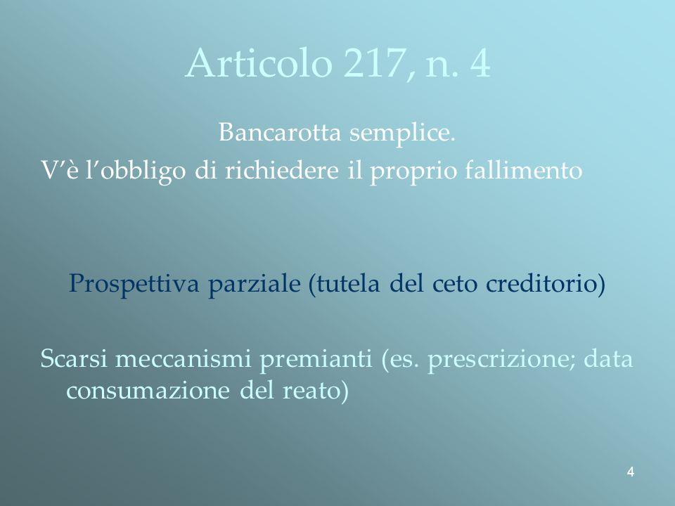 4 Articolo 217, n.4 Bancarotta semplice.