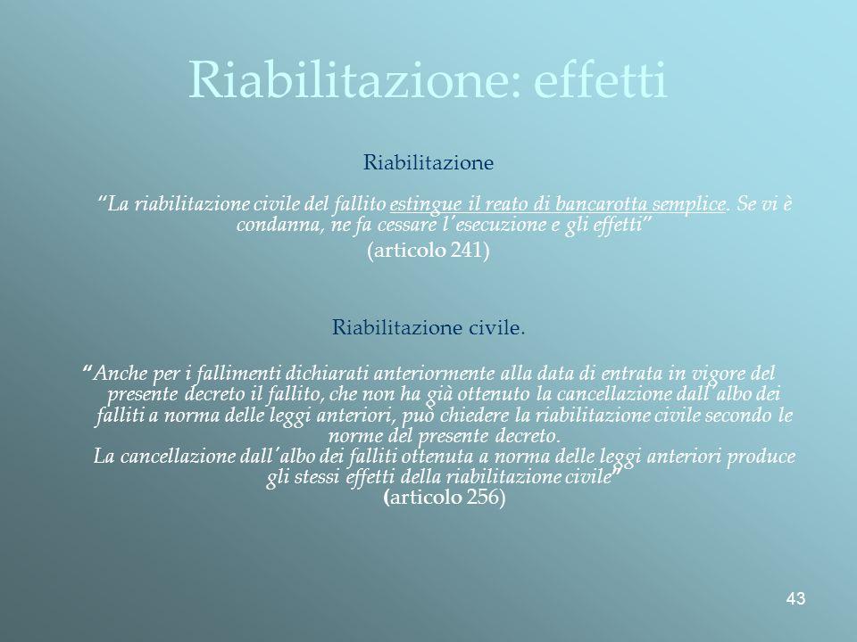43 Riabilitazione: effetti RiabilitazioneLa riabilitazione civile del fallito estingue il reato di bancarotta semplice.