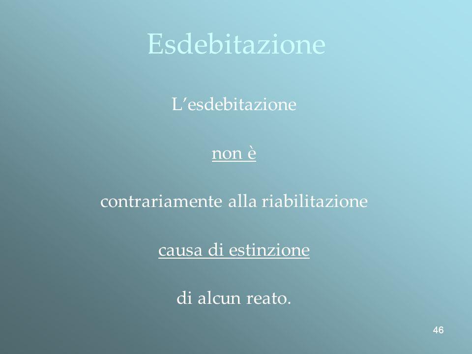 46 Esdebitazione Lesdebitazione non è contrariamente alla riabilitazione causa di estinzione di alcun reato.