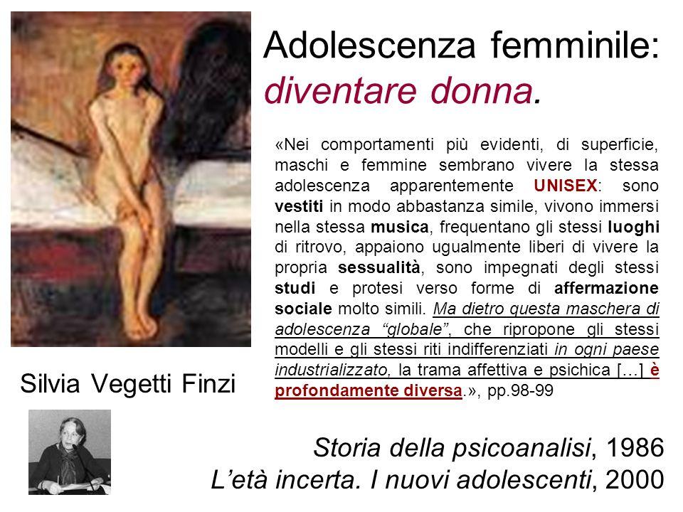 Adolescenza femminile: diventare donna. Silvia Vegetti Finzi Storia della psicoanalisi, 1986 Letà incerta. I nuovi adolescenti, 2000 «Nei comportament
