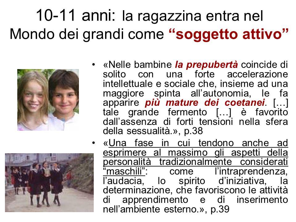 10-11 anni: la ragazzina entra nel Mondo dei grandi come soggetto attivo «Nelle bambine la prepubertà coincide di solito con una forte accelerazione i