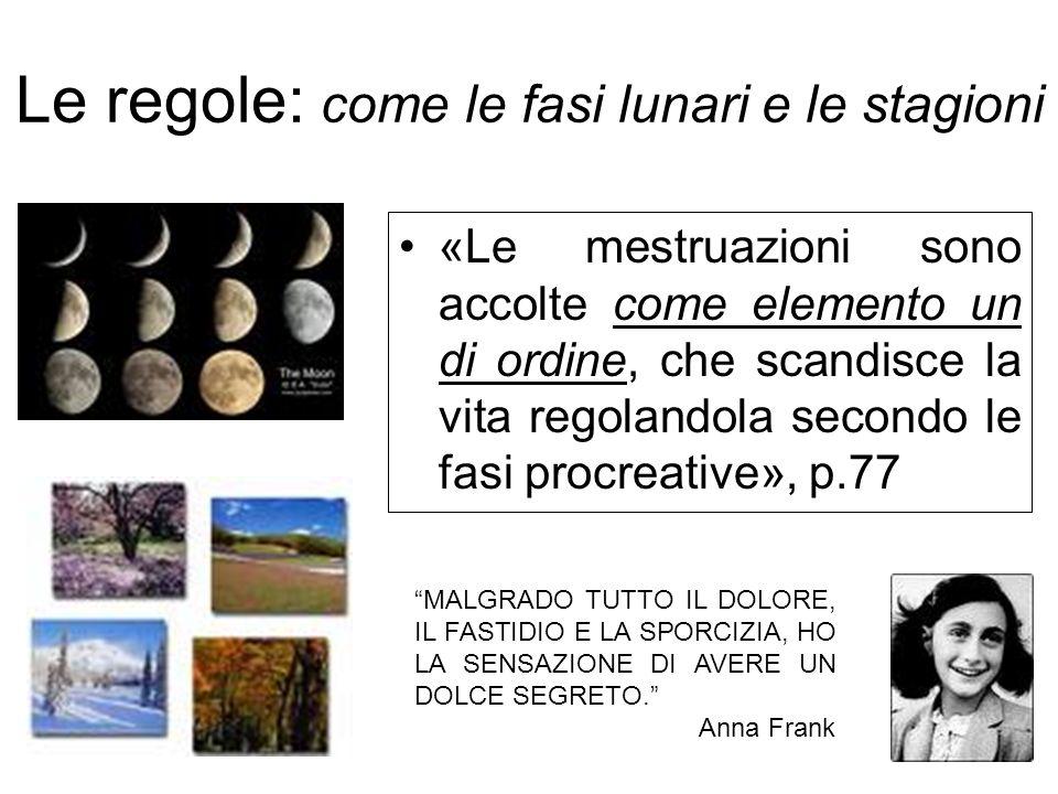 Le regole: come le fasi lunari e le stagioni «Le mestruazioni sono accolte come elemento un di ordine, che scandisce la vita regolandola secondo le fa