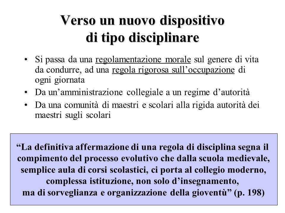 Verso un nuovo dispositivo di tipo disciplinare Si passa da una regolamentazione morale sul genere di vita da condurre, ad una regola rigorosa sullocc