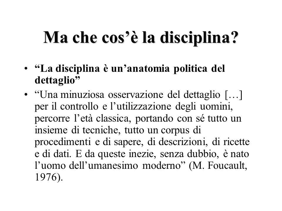 Ma che cosè la disciplina? La disciplina è unanatomia politica del dettaglio Una minuziosa osservazione del dettaglio […] per il controllo e lutilizza